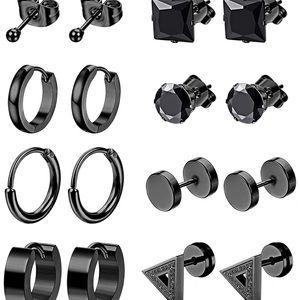 10Pairs Black Stainless Steel Earrings